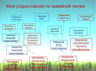 Моя родословная по маминой линии Фёдоров Егор Николаевич Никитин Николай Гера