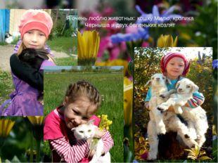 Я очень люблю животных: кошку Милю, кролика Черныша и двух беленьких козлят