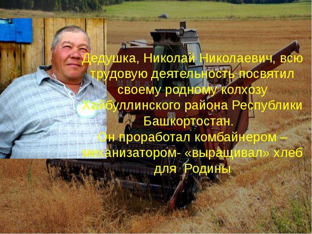 Дедушка, Николай Николаевич, всю трудовую деятельность посвятил своему родном...