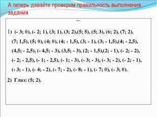 А теперь давайте проверим правильность выполнения задания  Лисица  1) (- 3;