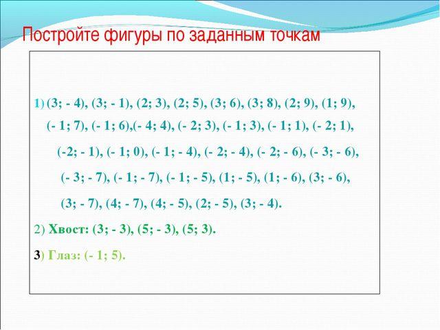 Постройте фигуры по заданным точкам  (3; - 4), (3; - 1), (2; 3), (2; 5), (3;...
