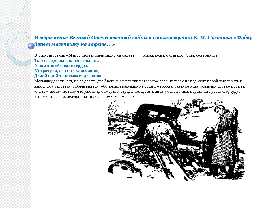 Изображение Великой Отечественной войны в стихотворении К. М. Симонова «Майор...