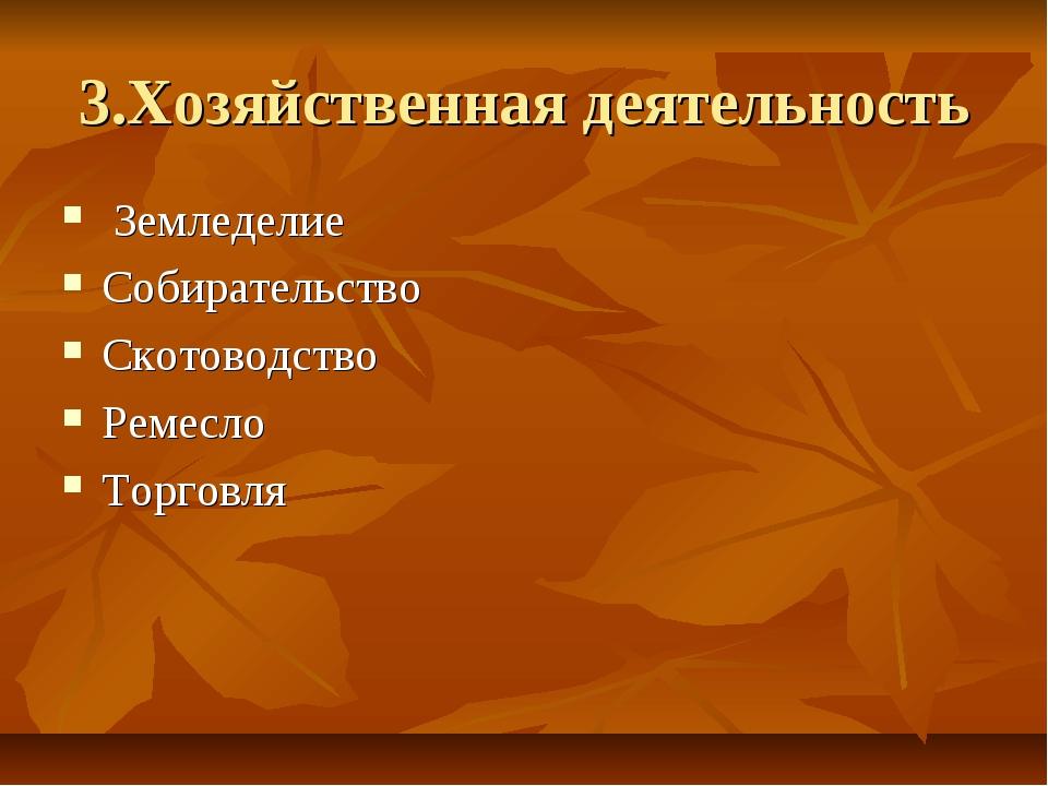 3.Хозяйственная деятельность Земледелие Собирательство Скотоводство Ремесло Т...