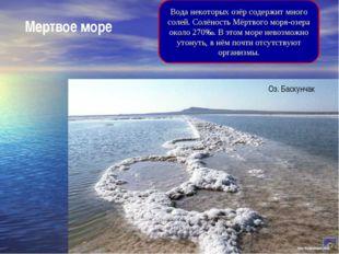 Мертвое море Вода некоторых озёр содержит много солей. Солёность Мёртвого мор