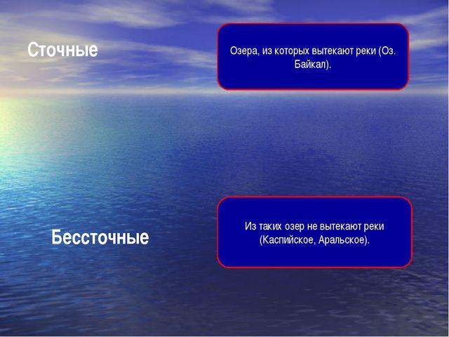 Сточные Озера, из которых вытекают реки (Оз. Байкал). Бессточные Из таких озе...