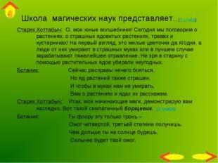 Школа магических наук представляет… (1 слайд) Старик Хоттабыч: О, мои юные во