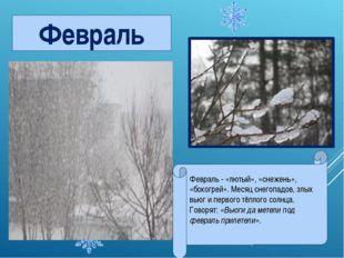 Февраль - «лютый», «снежень», «бокогрей». Месяц снегопадов, злых вьюг и перво