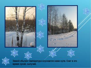 Зимой обычно температура опускается ниже нуля. Снег в это время сухой, сыпучий.