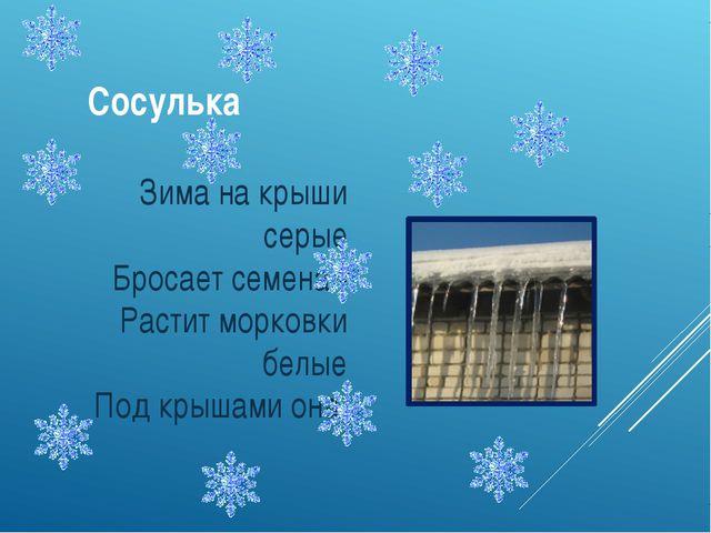 Сосулька Зима на крыши серые Бросает семена - Растит морковки белые Под крыша...