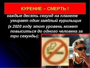 КУРЕНИЕ – СМЕРТЬ ! каждые десять секунд на планете умирает один заядлый курил