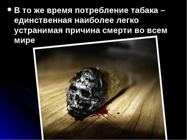 В то же время потребление табака – единственная наиболее легко устранимая при...
