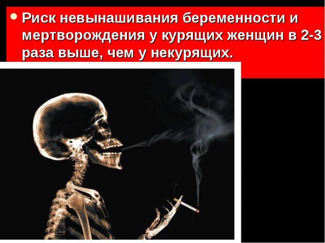 Риск невынашивания беременности и мертворождения у курящих женщин в 2-3 раза...
