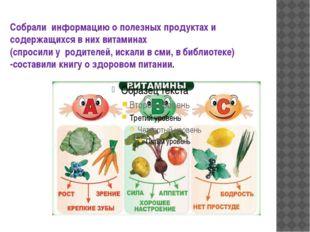 Собрали информацию о полезных продуктах и содержащихся в них витаминах (спрос