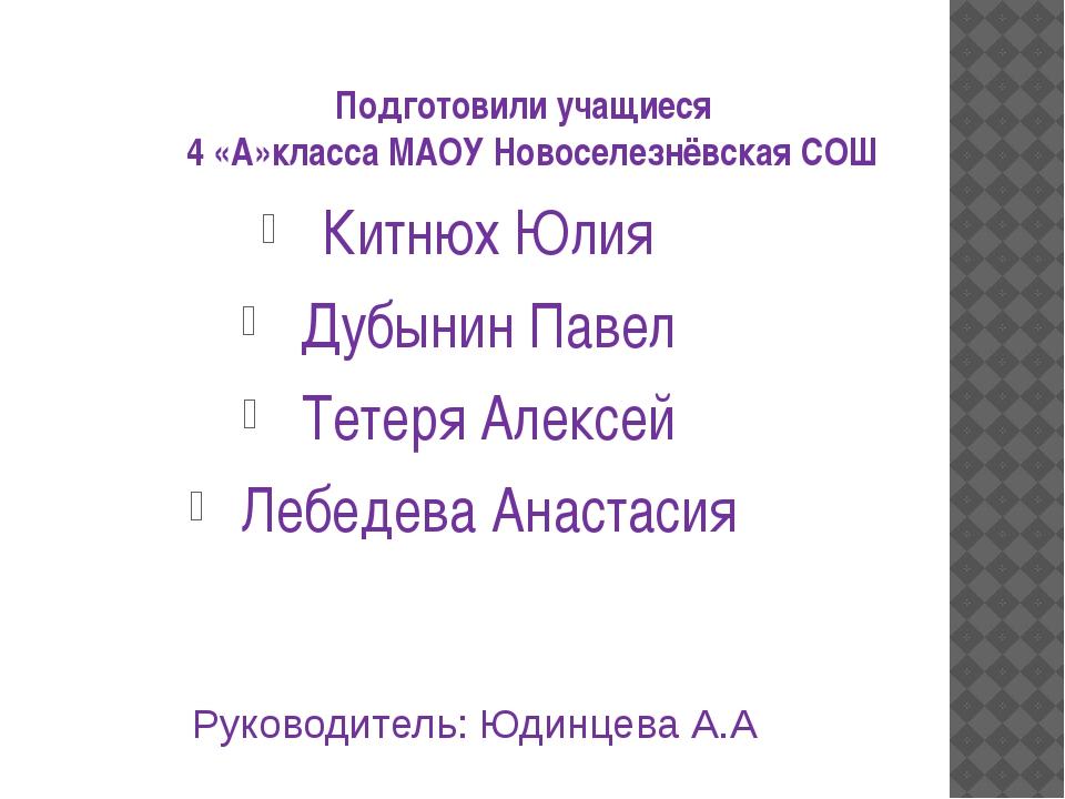 Подготовили учащиеся 4 «А»класса МАОУ Новоселезнёвская СОШ Китнюх Юлия Дубыни...