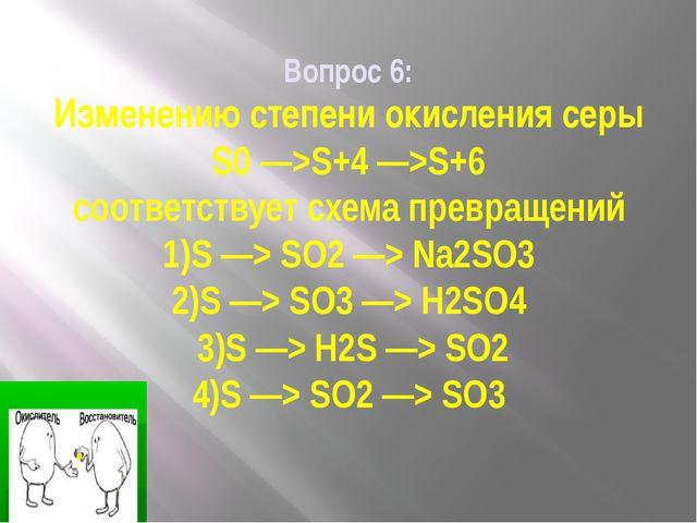 Вопрос 6: Изменению степени окисления серы S0 —>S+4 —>S+6 соответствует схема...