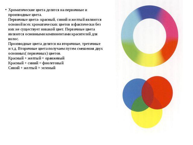 Хроматические цвета делятся на первичные и производные цвета. Первичные цвет...
