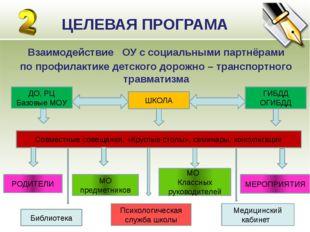 ЦЕЛЕВАЯ ПРОГРАМА Взаимодействие ОУ с социальными партнёрами по профилактике д