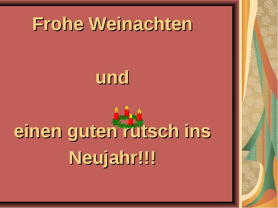 Frohe Weinachten und einen guten rutsch ins Neujahr!!!