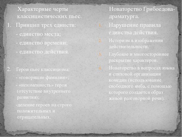 Характерные черты классицистических пьес. 1. Принцип трех единств: - единств...