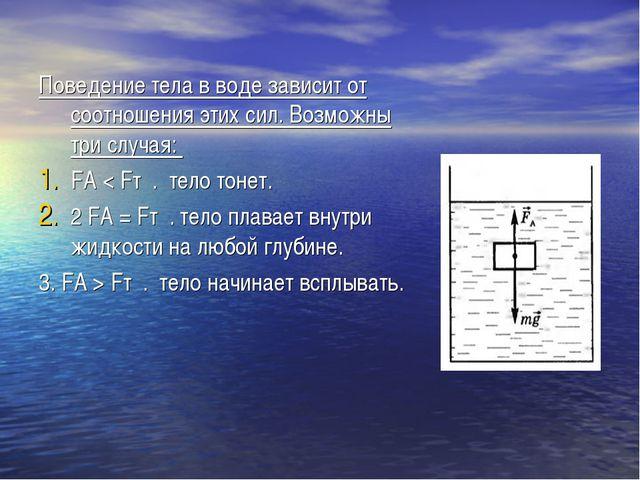 Поведение тела в воде зависит от соотношения этих сил. Возможны три случая: F...