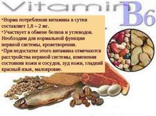 Норма потребления витамина в сутки составляет 1,8 – 2 мг. Участвует в обмене