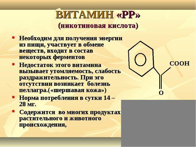 ВИТАМИН «РР» (никотиновая кислота) Необходим для получения энергии из пищи, у...