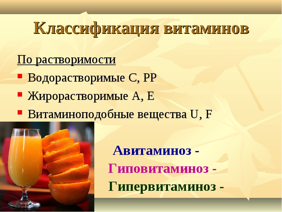 Классификация витаминов По растворимости Водорастворимые С, РР Жирорастворимы...