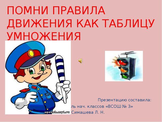 Презентацию составила: учитель нач. классов «ВСОШ № 3» Симашева Л. Н. ПОМНИ...