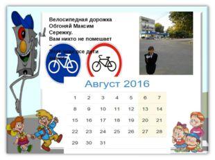 Велосипедная дорожка Обгоняй Максим Сережку. Вам никто не помешает – Этот зна