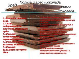Вред шоколада Польза и вред шоколада Польза шоколада 1. Виновник лишнего веса