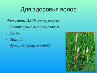 Для здоровья волос -Витамины А,С,В, цинк, железо; Натуральные аминокислоты; С