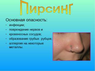 Основная опасность: инфекции; повреждение нервов и кровеносных сосудов; образ