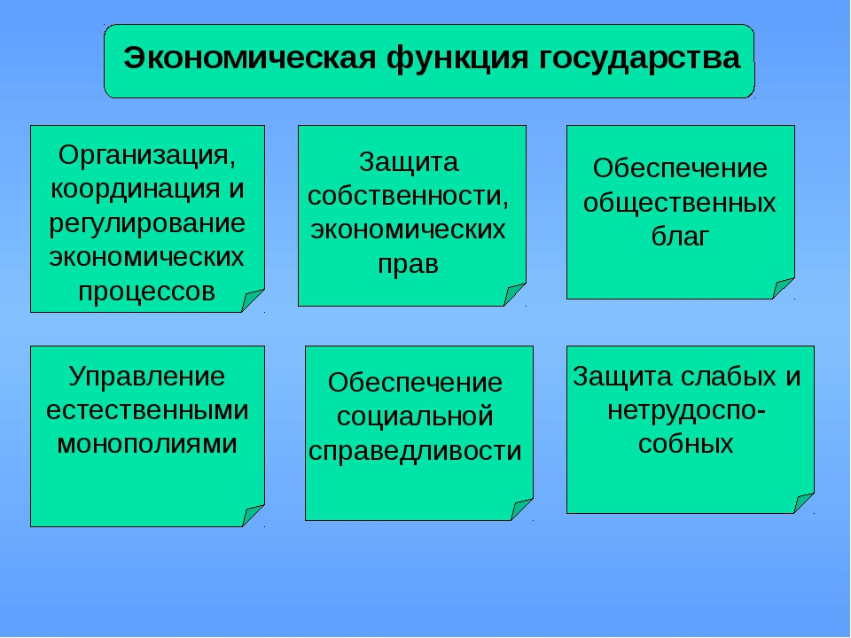 Экономическая функция государства Организация, координация и регулирование э...