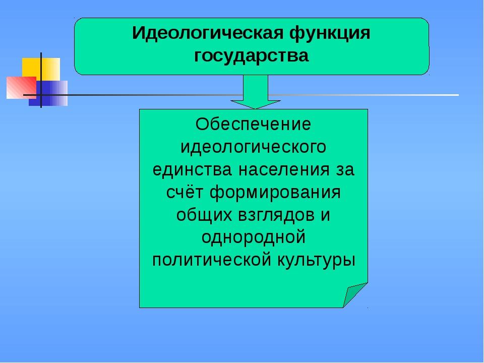 Идеологическая функция государства Обеспечение идеологического единства насе...