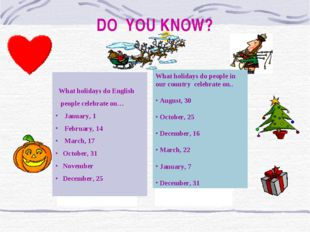 DO YOU KNOW? What holidays do people in our country celebrate on.. August, 30