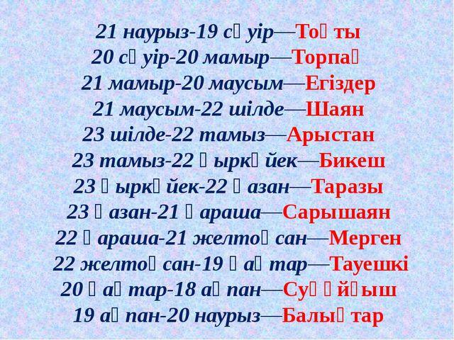 21 наурыз-19 сәуір—Тоқты 20 сәуір-20 мамыр—Торпақ 21 мамыр-20 маусым—Егіздер...