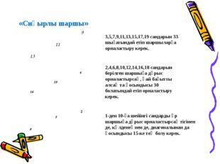 «Сиқырлы шаршы» 3,5,7,9,11,13,15,17,19 сандарын 33 шығатындай етіп шаршыларға