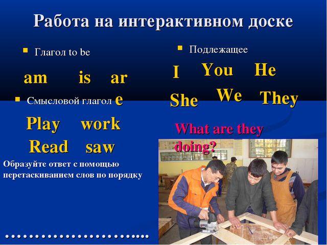 Работа на интерактивном доске Глагол to be Подлежащее Смысловой глагол am is...