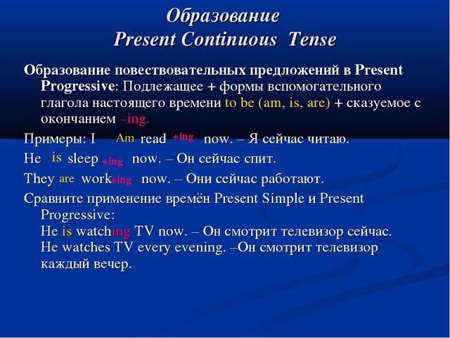 Образование Present Continuous Tense Am Образование повествовательных предлож...