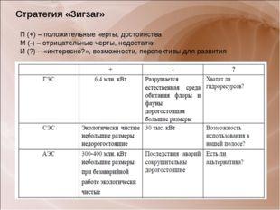 Стратегия «Зигзаг» П (+) – положительные черты, достоинства М (-) – отрицател