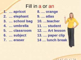 Fill in a or an … apricot … elephant … school bag … umbrella … classroom … su