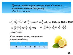 Проверь, верно ли решены примеры. Составь с помощью символов диаграмму «^»- д