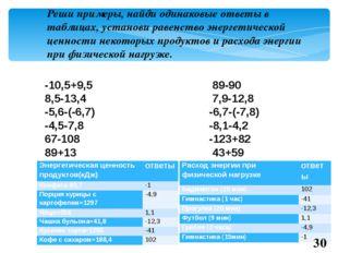 Реши примеры, найди одинаковые ответы в таблицах, установи равенство энергети