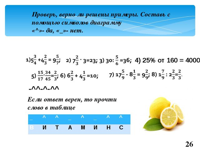 Проверь, верно ли решены примеры. Составь с помощью символов диаграмму «^»- д...