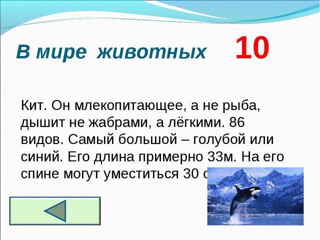 В мире животных 10 Кит. Он млекопитающее, а не рыба, дышит не жабрами, а лёгк...