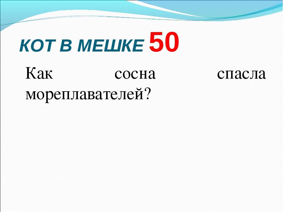 КОТ В МЕШКЕ 50 Как сосна спасла мореплавателей?