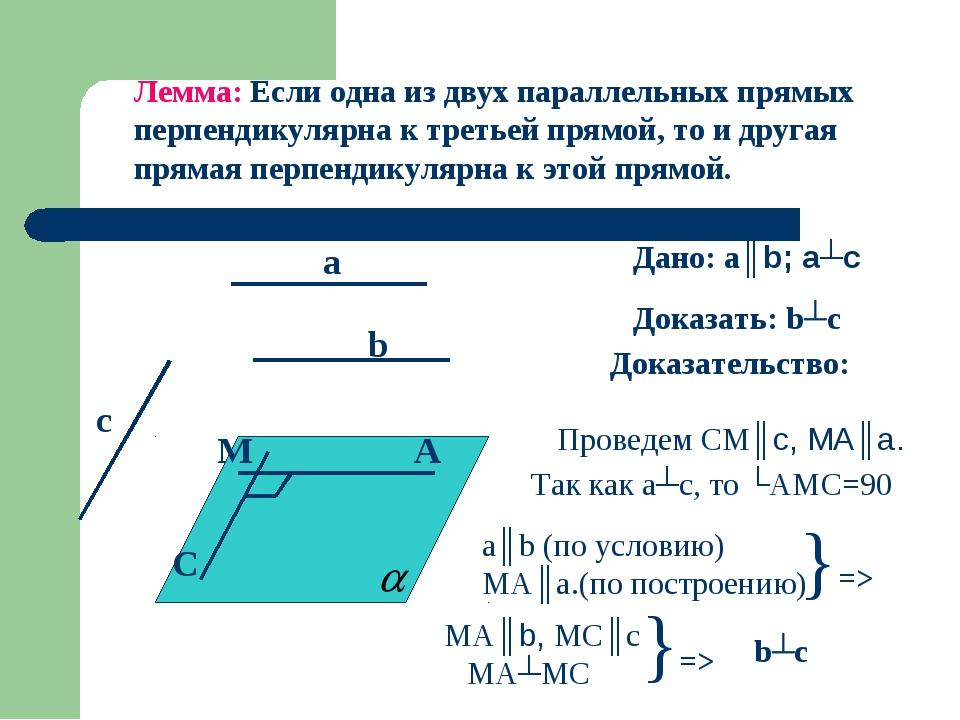 Лемма: Если одна из двух параллельных прямых перпендикулярна к третьей прямой...