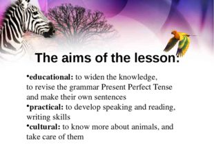 educational: to widen the knowledge, to revise the grammar Present Perfect Te