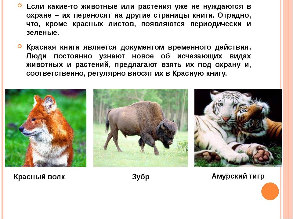 Если какие-то животные или растения уже не нуждаются в охране – их переносят...