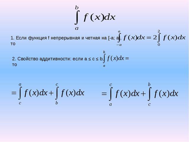 1. Если функция f непрерывная и четная на [-a; a], то Молодец! Идем дальше!